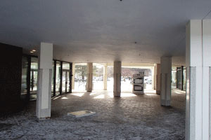 The District Building 8 lobby before enclosure